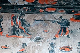 Feast at Hong Gate - Detail of a larger mural, showing a musician and a dancer, from the Dahuting Tombs