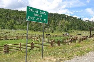 Dallas Divide Mountain pass in Colorado, USA