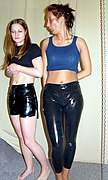 Dana and Jassi in latex shorts and leggings (4615).jpg