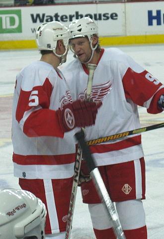 Danny Markov - Markov, alongside Nicklas Lidström, with the Red Wings.