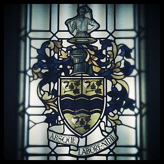 Darwen - Darwen coat of arms as depicted in a recovered stained glass window at Royal Blackburn Hospital