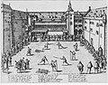 Das Düsseldorfer Stadtbild I 1585-1806 Fußturnier im Schlosshof 1585 Kupferstich von Franz Hogenberg.jpg