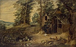 David Teniers the Younger: Landscape (Meeting of St. Antony and St Paul)