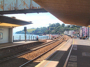 Dawlish -  View from Dawlish station to the south-west toward the scenic tunnelled coastal section of line.