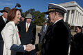 Defense.gov News Photo 110307-N-TT977-017 - Chairman of the Joint Chiefs of Staff Adm. Mike Mullen U.S. Navy greets Australian Prime Minister Julia Gillard at a ceremony on the steps of the.jpg