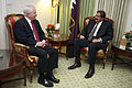 Defense.gov News Photo 110414-D-7203C-001 - Secretary of Defense Robert M. Gates meets with the Amir of Qatar Amir Hamad bin Khalifa Al-Thani in the Four Season s Hotel in Washington D.C..jpg