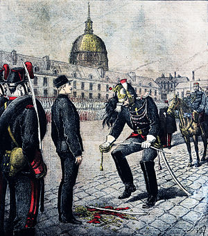 1890s - Dreyfus affair – Alfred Dreyfus being dishonorably discharged, 5 January 1895.