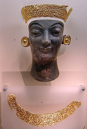 Chryselephantine sculpture - Gold and fire-blackened ivory fragments of a burnt Archaic chryselephantine statue - Delphi Archaeological Museum