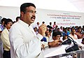 Dharmendra Pradhan addressing the gathering at the inauguration of the National Seismic Program in Mahanadi Basin (On-land), by the ONGC, in Balesore, Odisha.jpg