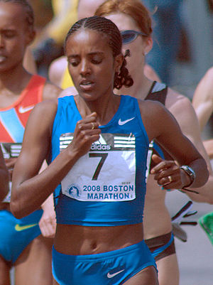 Dire Tune - Dire Tune on the way to winning the 2008 Boston Marathon.