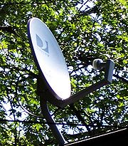 A standard DirecTV satellite dish with 1 LNB on a roof