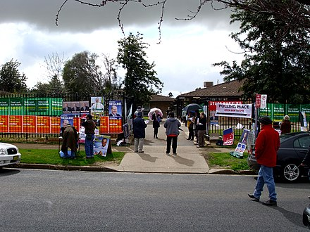 A polling place in New South Wales on election day, 2010 Division of Riverina polling place at Sturt Public School 1.jpg