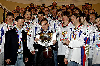 Sport in Russia - President Dmitry Medvedev meets with the 2008 national hockey team