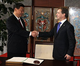 Xi Jinping - Xi Jinping with Russian President Dmitry Medvedev on 28 September 2010