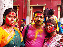 Dol Khela after the end of Basanto Utsav at Jorasanko Thakurbari.