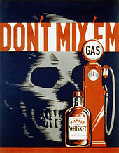 "An illustration in black, red and white showing a skull on the left, small bottle of liquor in the center and old-fashioned gasoline pump on the right with the caption ""Don't Mix 'Em"" on top."