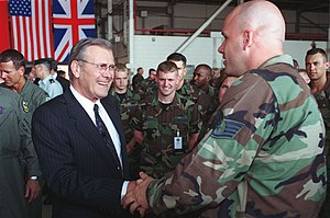 Incirlik Air Base - Secretary of Defense Donald Rumsfeld during his visit to Incirlik Air Base, 4 June 2001