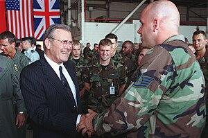 Incirlik Air Base - Secretary of Defense Donald Rumsfeld during his visit to Incirlik Air Base, 4 June 2001
