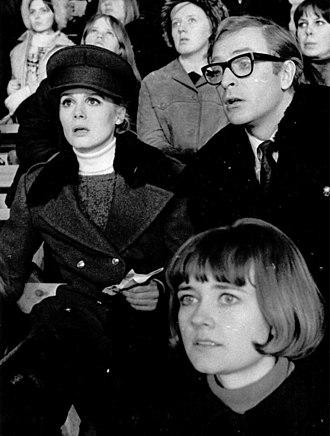 Françoise Dorléac - Françoise Dorléac and Michael Caine during the cinematography of Billion Dollar Brain at Helsinki Ice Hall, February 1967.