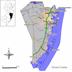 Location of Toms River Township, formerly called and referred to in the map as Dover Township, in Ocean County