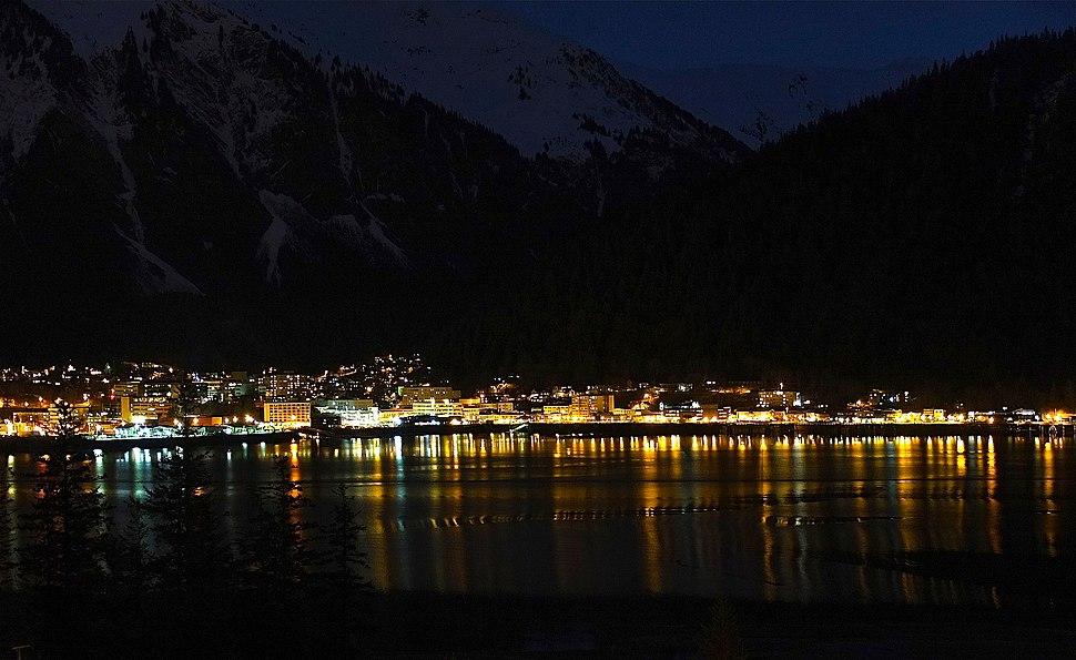 Downtown Juneau, Alaska at night