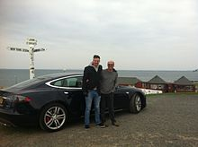 Dr Jeff Allan and his son Ben Cottam-Allan having completed their journey from Lands End to John o'Groats set off for the return journey in their Tesla electric car.