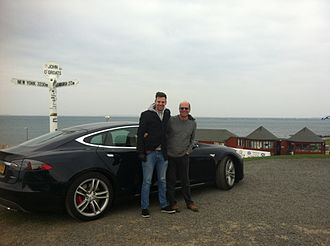 Land's End to John o' Groats - Dr Jeff Allan and his son Ben Cottam-Allan having completed their journey from Lands End to John o' Groats set off for the return journey.