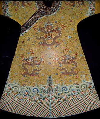 Chinese clothing - Robe of Qianlong Emperor with the Chinese dragon, hallmark of the Emperor of China and imperial families