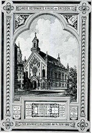 Reformed Church, Dresden - Memorial sheet of the laying of the church's cornerstone, 1892