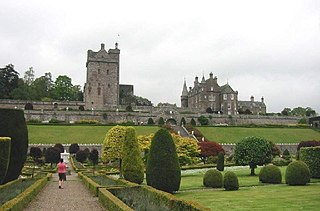Drummond Castle castle in Perth and Kinross, Scotland, UK