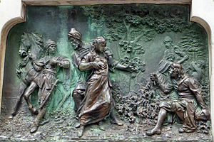 Ivan Gundulić - Bronze relief on the statue of Ivan Gundulić in Dubrovnik, showing a scene from the ninth canto where Sunčanica is taken to the Sultan's harem