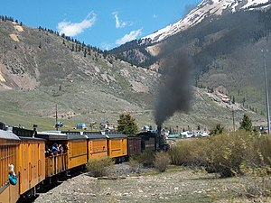 Durango and Silverton Narrow Gauge Railroad - Train entering Silverton