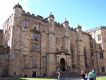University College is the oldest of the Durham colleges Durham Castle Innenhof.jpg