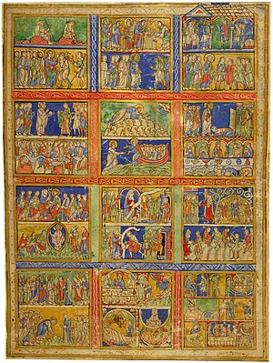 Life of Christ in art - Eadwine Psalter, Morgan leaf M.521 (recto); mixed miracles and parables of Jesus.  The last square has the story of the Prodigal Son in 8 scenes, the penultimate Dives and Lazarus in four.