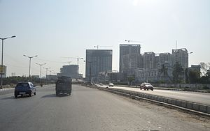 E.M. Bypass - EM Bypass with under-construction ramp of Parama Island Flyover