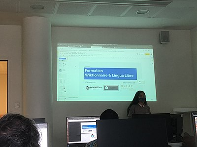 Eavq presenting Lingua Libre and the French-speaking Wiktionary at INaLCO.jpg