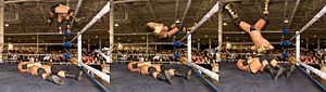 Moonsault - SeXXXy Eddy performing a split-legged moonsault