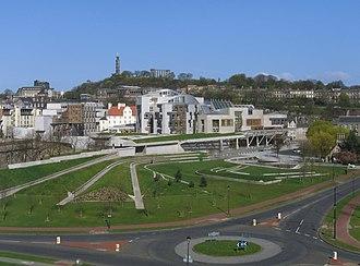 Enric Miralles - Exterior view of the Scottish Parliament Building in Edinburgh