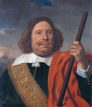 Egbert Bartholomeusz Kortenaer - Portrait of Egbert Meeuwsz Cortenaer, showing his blind eye and good left hand in 1660, by Bartholomeus van der Helst
