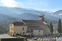 Eglise de Brassac et montagne - Brassac (Ariège).JPG