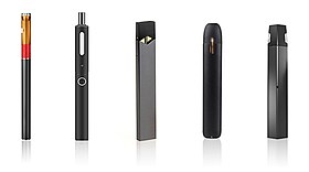 Various types of electronic cigarettes.