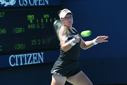 Baltacha winning her first match at the US Open and breaking into the top 50 Elena Baltacha at the 2010 US Open 01.jpg