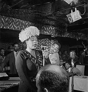 Ella Fitzgerald - Fitzgerald performing with Dizzy Gillespie, Ray Brown, Milt Jackson and Timme Rosenkrantz in September 1947, New York