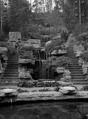 Elysian Park, Los Angeles - Waterfall and rock garden behind Police Academy, 1956