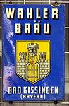 Enamel advertising sign, Wahler Bräu, Bad Kissinger.JPG