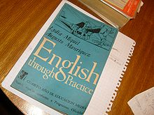 Colour photograph of an English textbook
