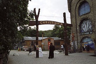 Anarchy - The entrance of Freetown Christiania, a Danish neighborhood autonomous from local government controls.