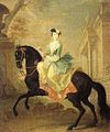 Equestrian portrait of Grand Duchess Catherine Alexeevna by G.C.Grooth (c. 1744, Russian museum).jpg