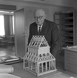 Erling Gjone - Erling Gjone with a model of a Norwegian stave church