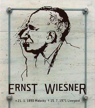 Ernst Wiesner - Memorial plaque to Ernst Wiesner in Brno